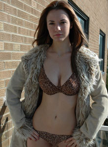 Amy Shows Off Her Perfect Tits In A Leopard Print Bra - Picture 8