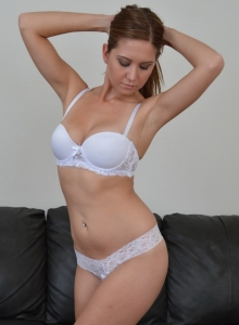 Chrissy Marie Teases As She Strips Out Of Her Sexy White Lace Bra And Panties - Picture 2