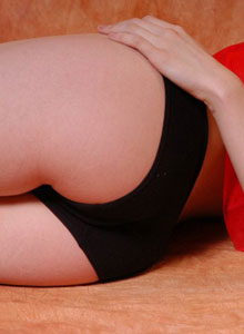 Danielle Looks Super Cute And Innocent In Her Red Babydoll And Black Tight Panties - Picture 9