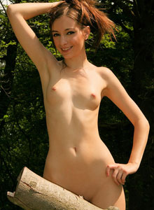 Skinny Teen Shows Off Her Perfect Perky Tits As She Strips Out In The Woods - Picture 10