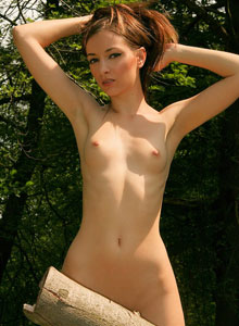 Skinny Teen Shows Off Her Perfect Perky Tits As She Strips Out In The Woods - Picture 12
