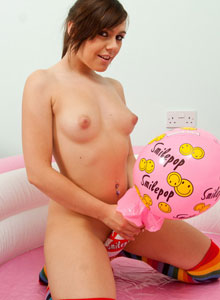 Petite Teen Kacie James Strips Down And Sprays Whip Cream All Over Her Perky Tits - Picture 7