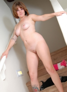Curvy Tattooed Spunky Angel Misty Teases As She Strips Naked On The Stairs - Picture 7