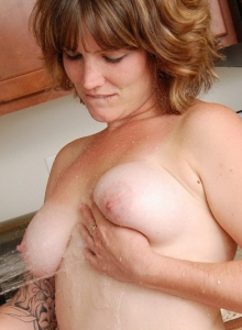 Sexy Hot Babe Misty Strips Naked In The Kitchen And Cools Off Her Tits - Picture 8