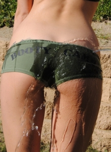 Tiffany Thompson Cools Herself Down On A Hot Day By Spraying Water On Her Perky Tits And Tight Round Ass - Picture 8
