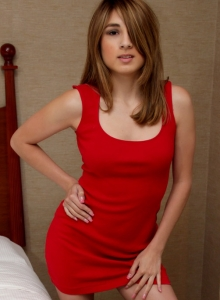 Cute Teen Zoey Violet Strips Out Of Her Little Red Dress Exposing Her Perky Tits - Picture 1